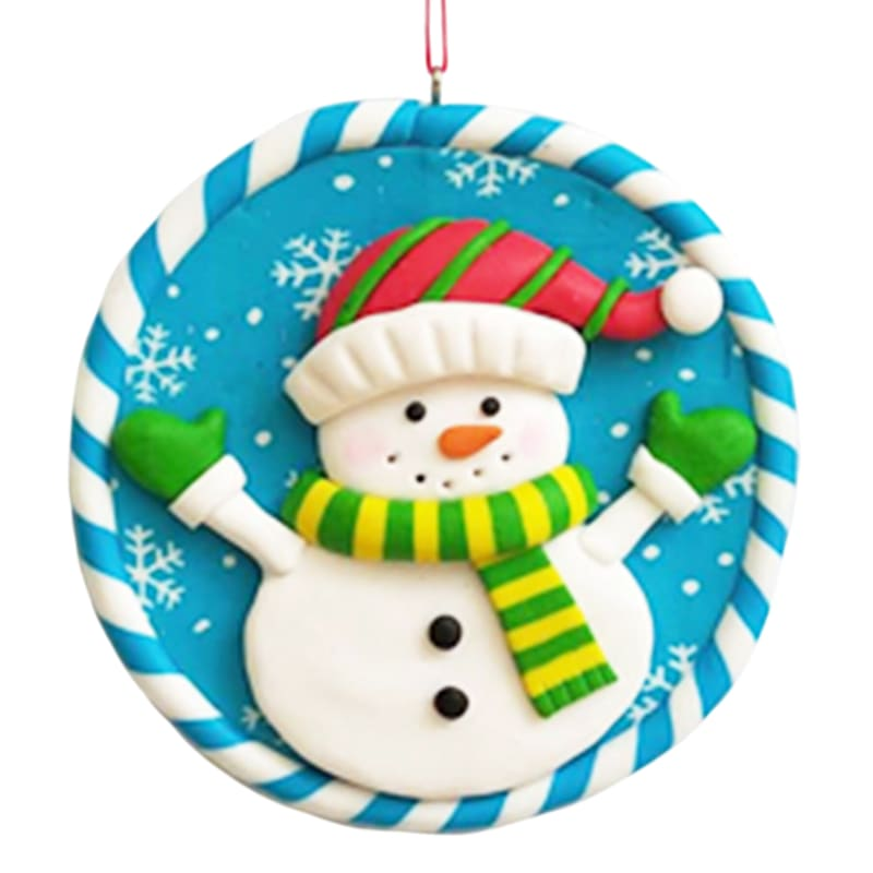Blue Frosty The Snowman Circular Ornament