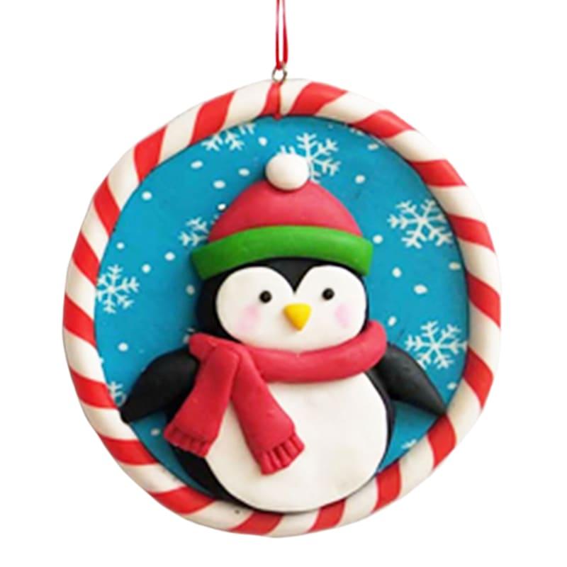"Circular Penguin Ornament, 3.5"""