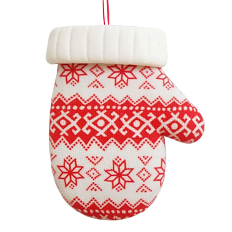 "Red & White Mitten Ornament, 4"""