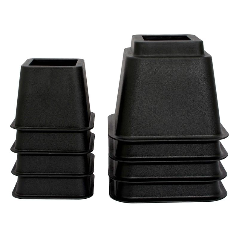 8-Piece Stackable Bed Riser Black