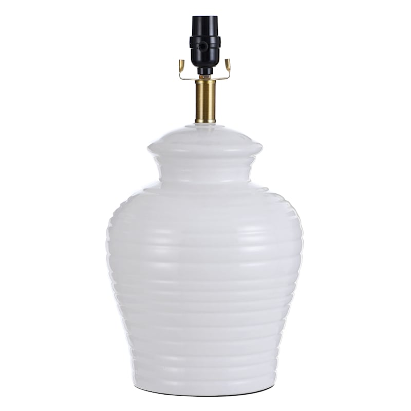 18IN RIBBED WHT URN TABLE LAMP