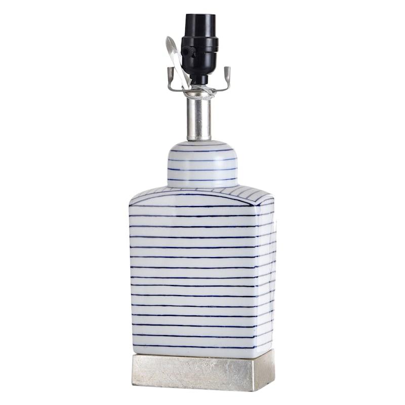 22IN BLU/WHT STRIPE TABLE LAMP