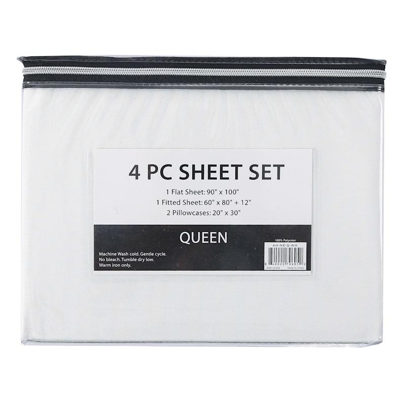 3-Piece Microfiber Sheet Set, Twin, White