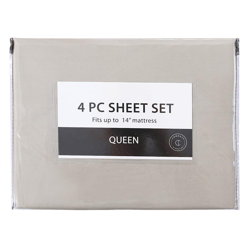 3-Piece Microfiber Sheet Set, Twin, Taupe