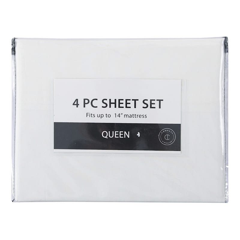 4-Piece Microfiber Sheet Set, Full, White