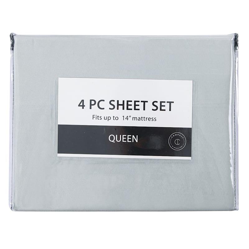 4-Piece Microfiber Sheet Set, Queen, Grey
