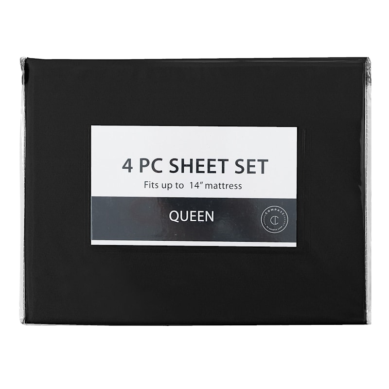 4-Piece Microfiber Sheet Set, Queen, Black