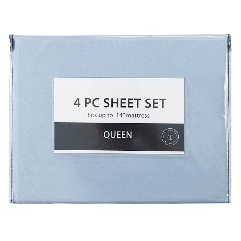4-Piece Microfiber Sheet Set, Queen, Blue