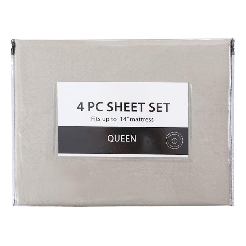 4-Piece Microfiber Sheet Set, Queen, Taupe