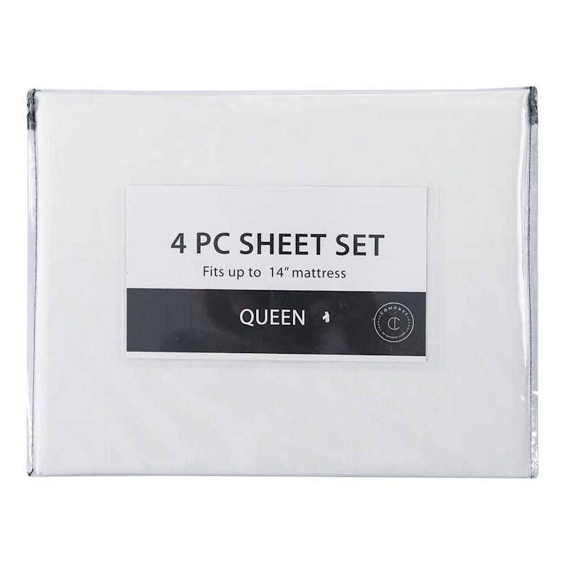 4-Piece Microfiber Sheet Set, King, White