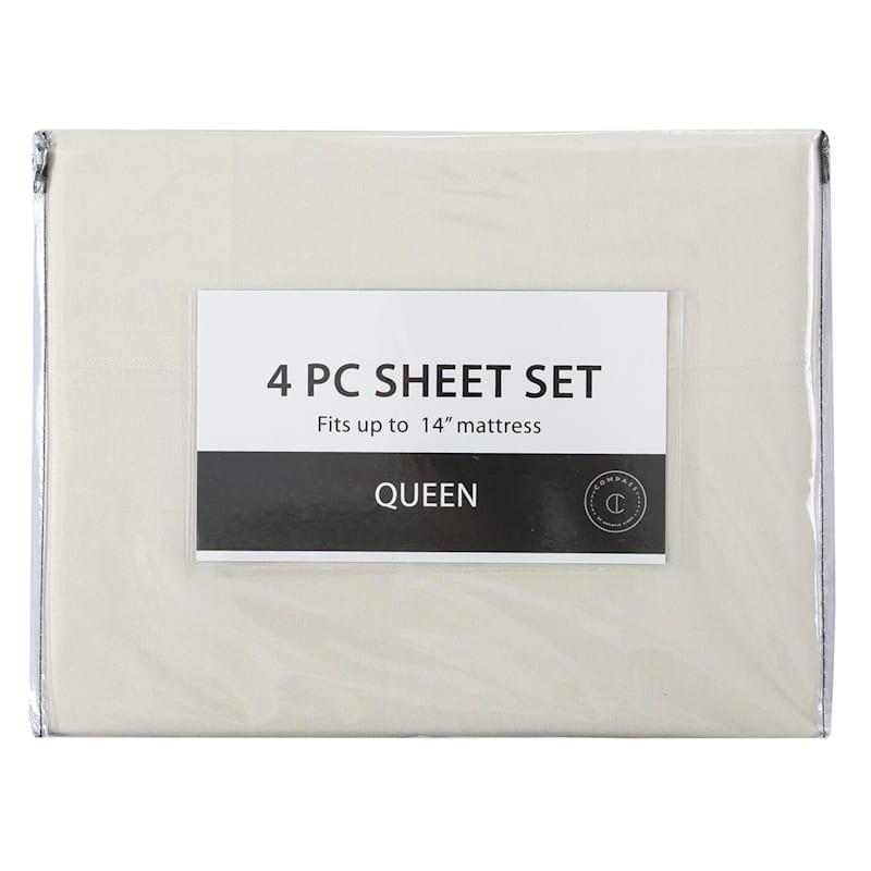 4-Piece Microfiber Sheet Set, King, Sand