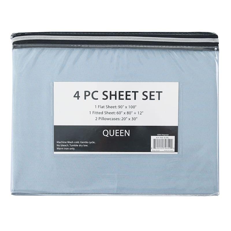 4-Piece Microfiber Sheet Set, King, Blue