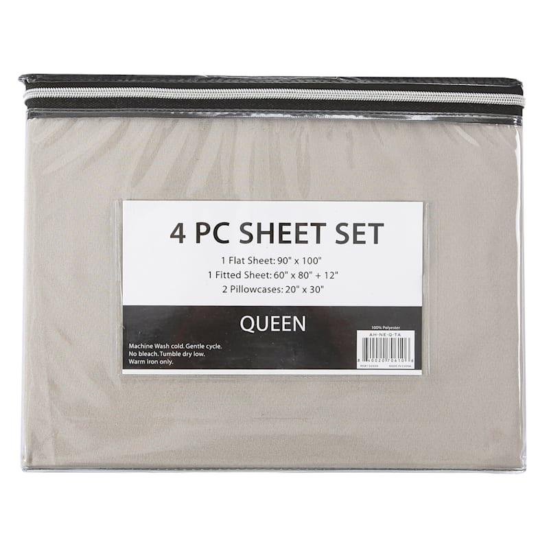 4-Piece Microfiber Sheet Set, King, Taupe