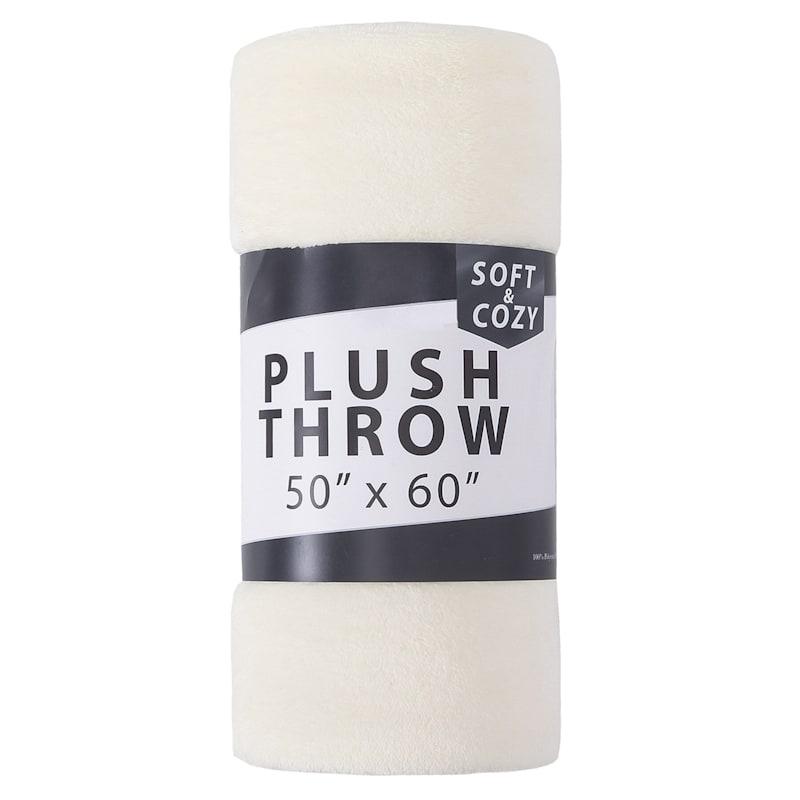 """""""50 x 60"""" Plush Throw, Ivory"""