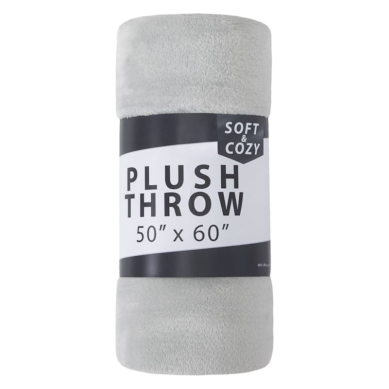"""50 x 60"" Plush Throw, Grey"