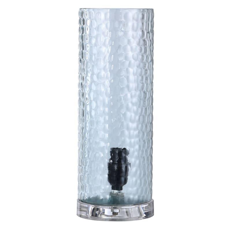 13IN BLU DIMPLED GLASS UPLIGHT