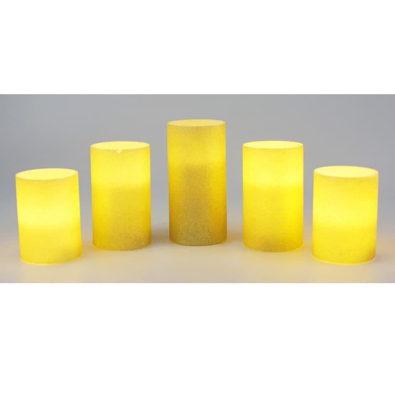 5-piece LED Glitter Candle Set, Gold