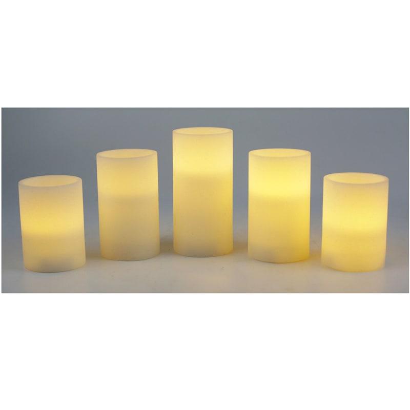 5-piece LED Glitter Candle Set, White