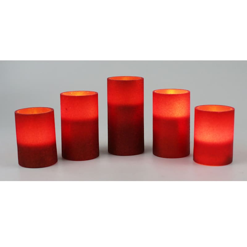 5-piece LED Glitter Candle Set, Red