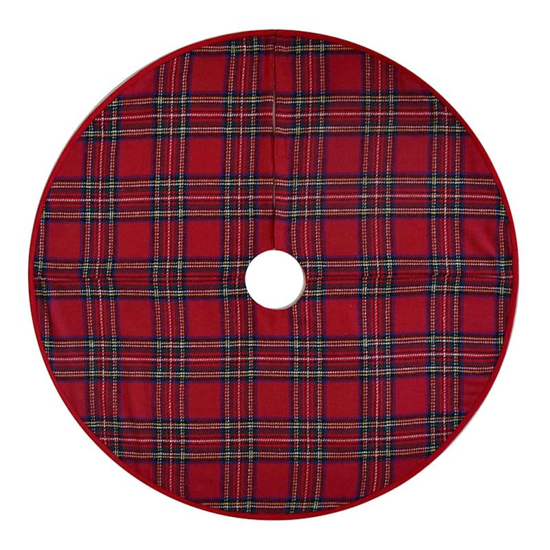 """Red Plaid Tree Skirt, 48"""""""