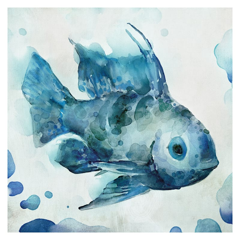 12X12 Watercolor Sea Creatures I Embellished Canvas