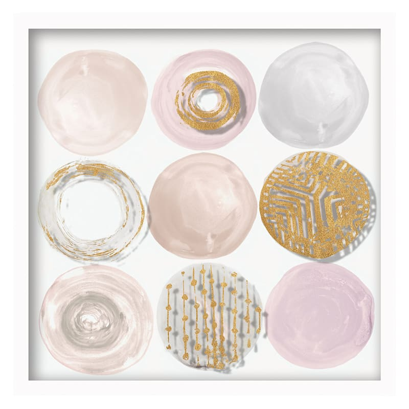 Pink and Gold Circles Framed Print Under Glass