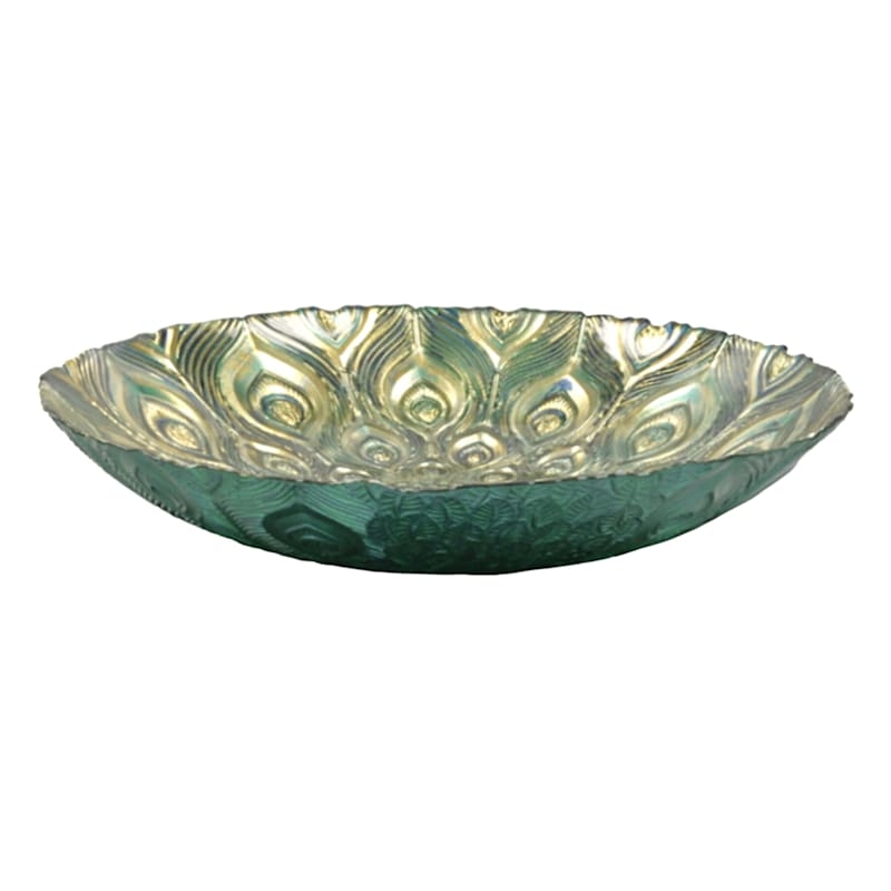 Turkish Glass Peacock Bowl, 13""