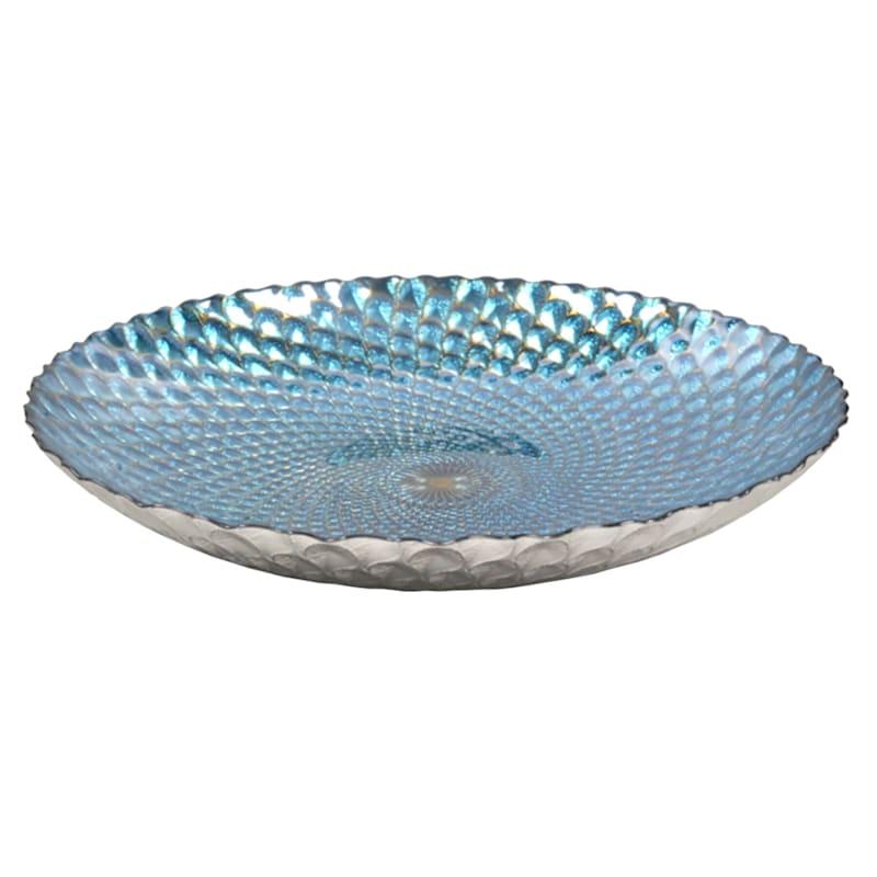"Teal Glass Bowl, 16"""