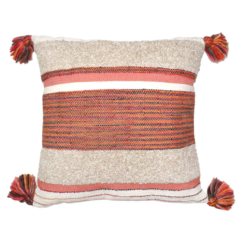 Natural Woven Striped Pillow With Tassel 20X20
