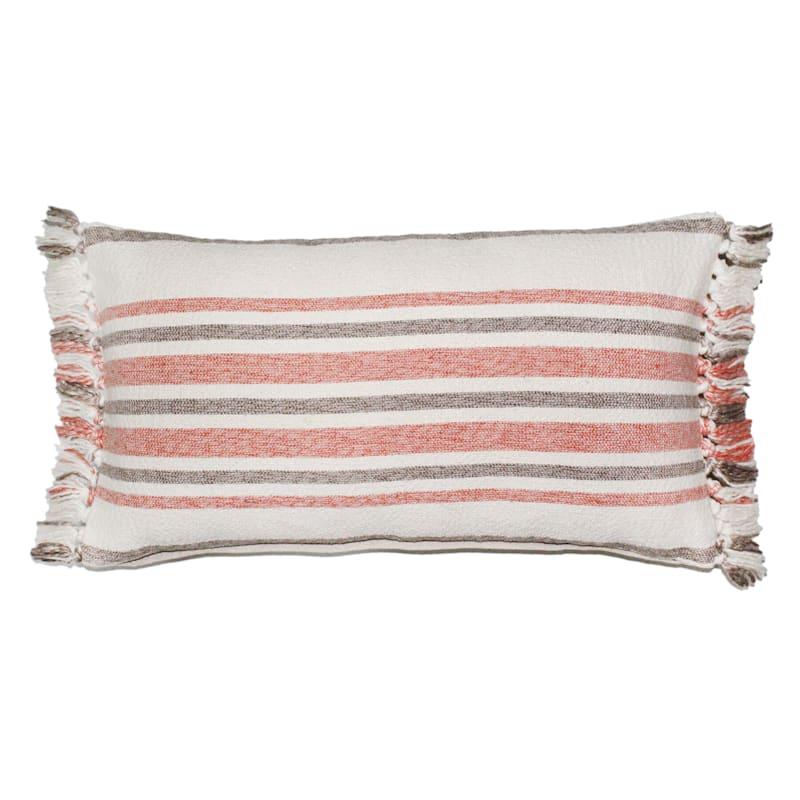 Oblong Woven Stripe Fringe Pillow 14X24