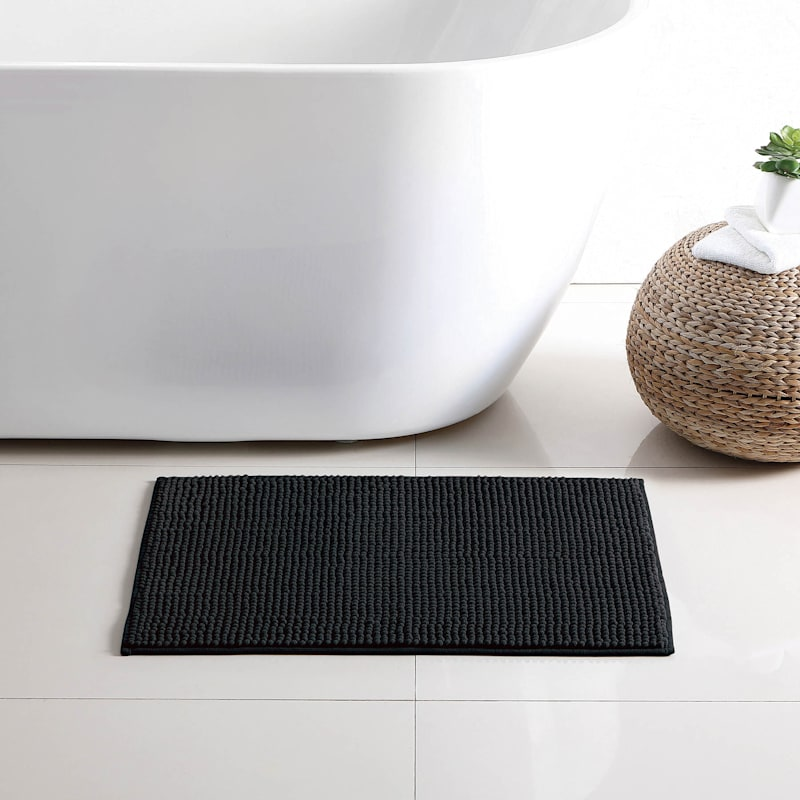 Black Noodle Bath Rug 17X24