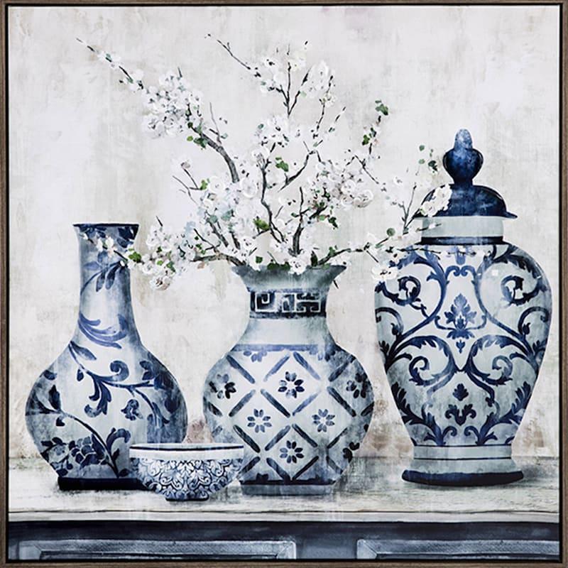 Floral Vases Framed Canvas Wall Art
