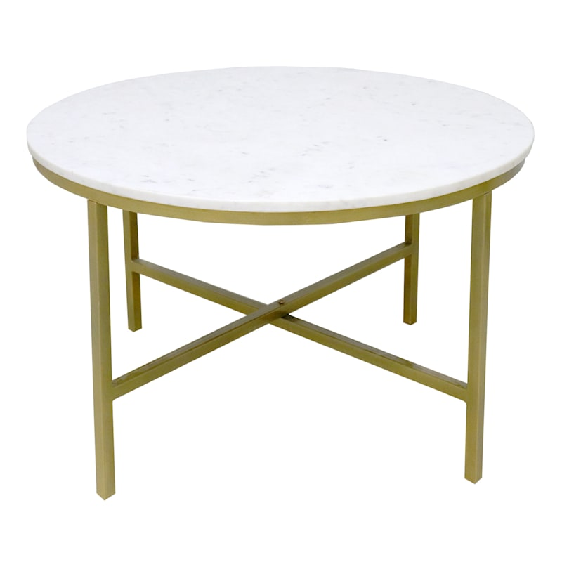 ROUND COFFEE TBL W/ MARBLE TOP