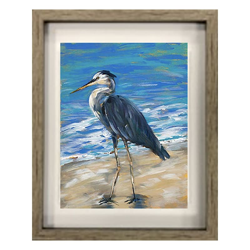 15X18 Coastal Heron Framed Art