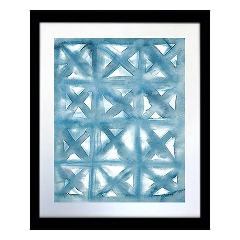 18X15 Teal Tile Abstract Framed Art