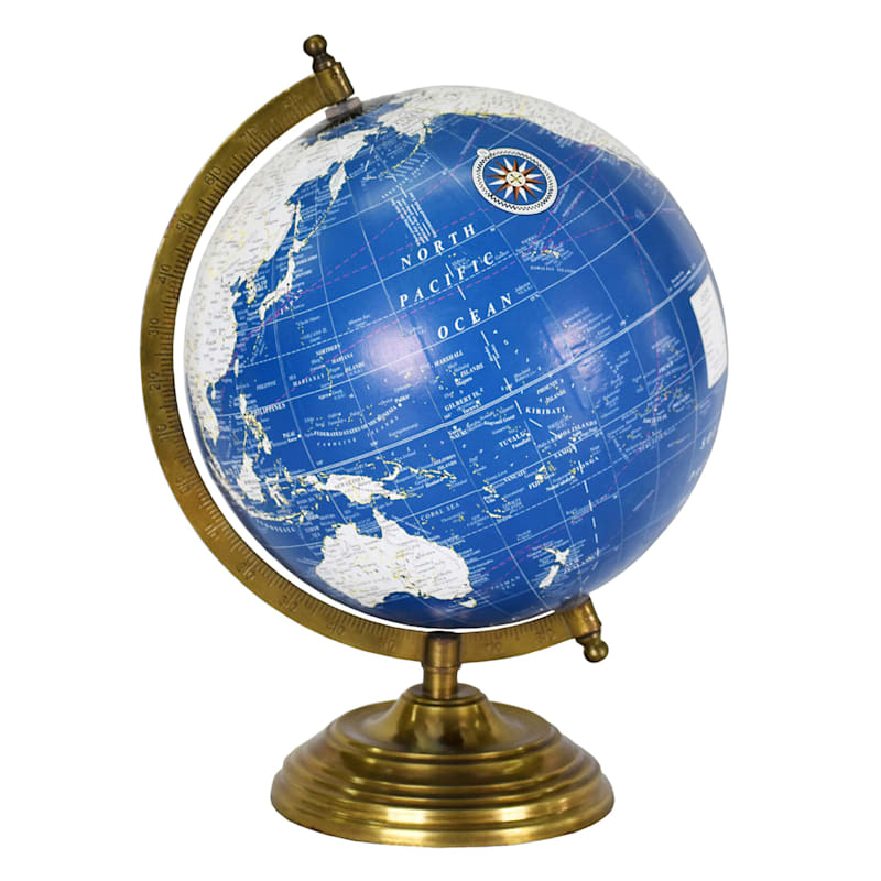 BLUE WHITE WORLD GLOBE 8X11