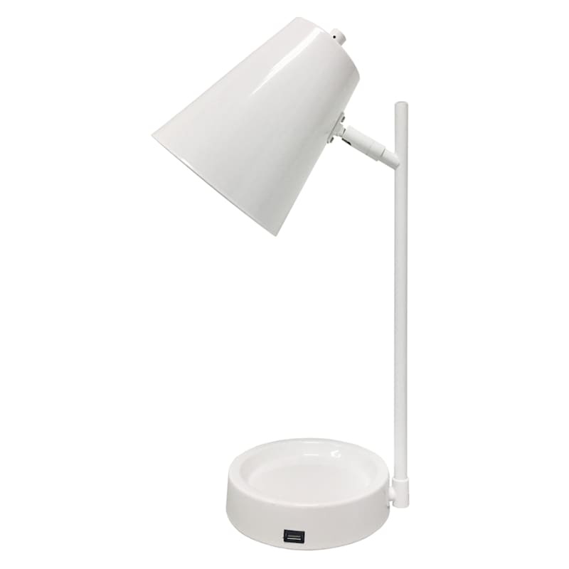 18IN WHITE METAL USB TASK LAMP