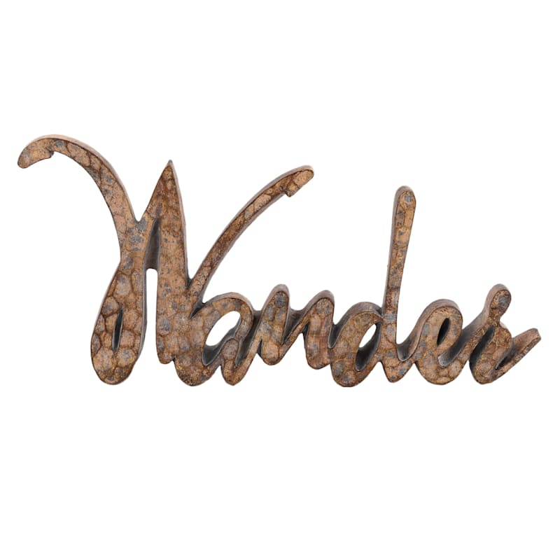 """Wander"" Brown Resin Sign"