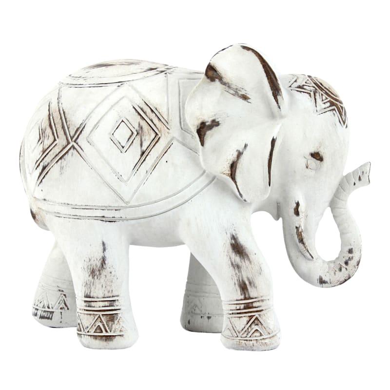 """Whitewashed Resin Elephant, 8.5"""""""
