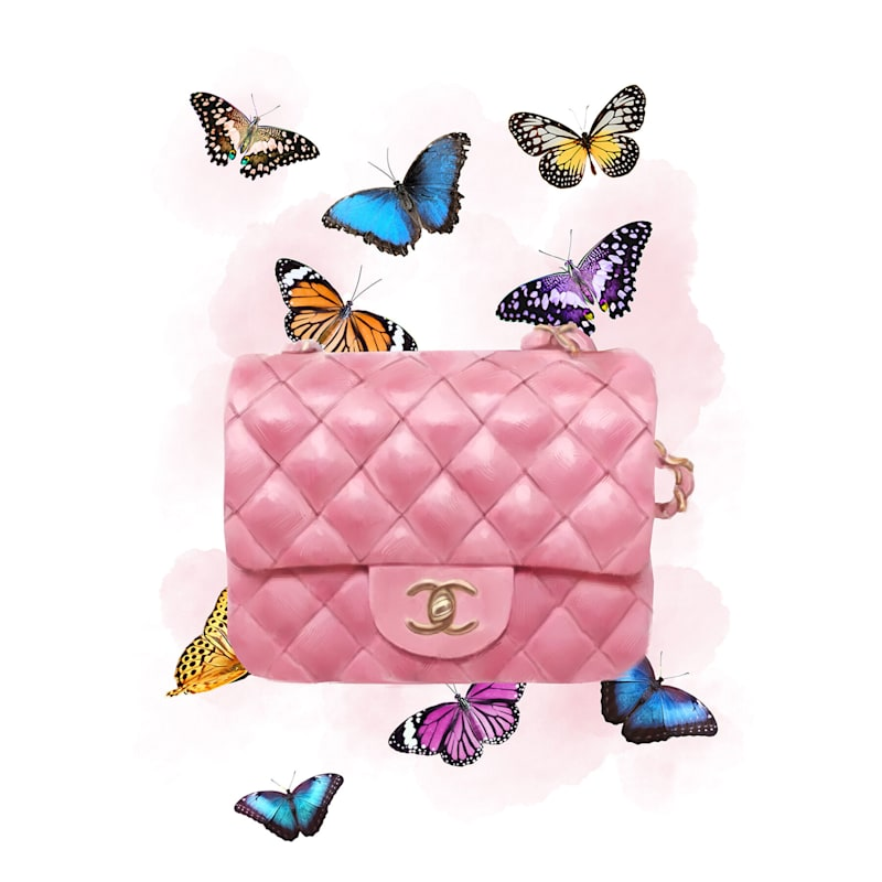 12X16 Butterfly Pink Fashion Bag Canvas Wall Art