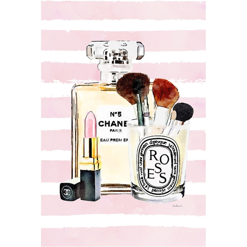 12X16 Fashion Perfume Bottle Stripes Canvas Wall Art