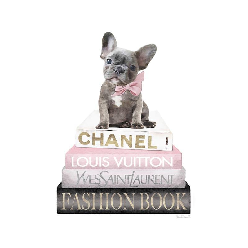 12X16 Fashion Bulldog Books Canvas With Foil Wall Art