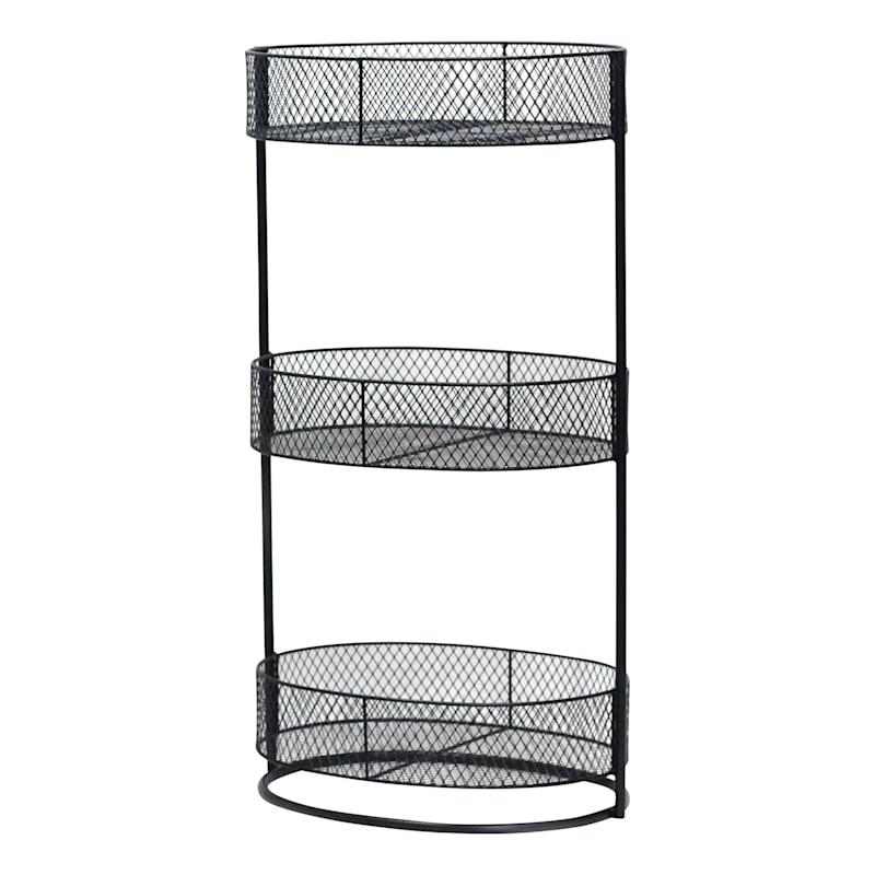 Black 3 Tier Oval Storage Basket, Small