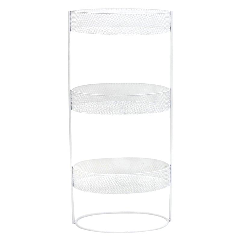 White 3 Tier Oval Storage Basket, Large