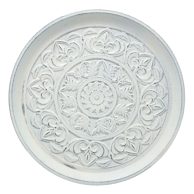 """White Floral Wooden Round Tray, 17.7"""""""