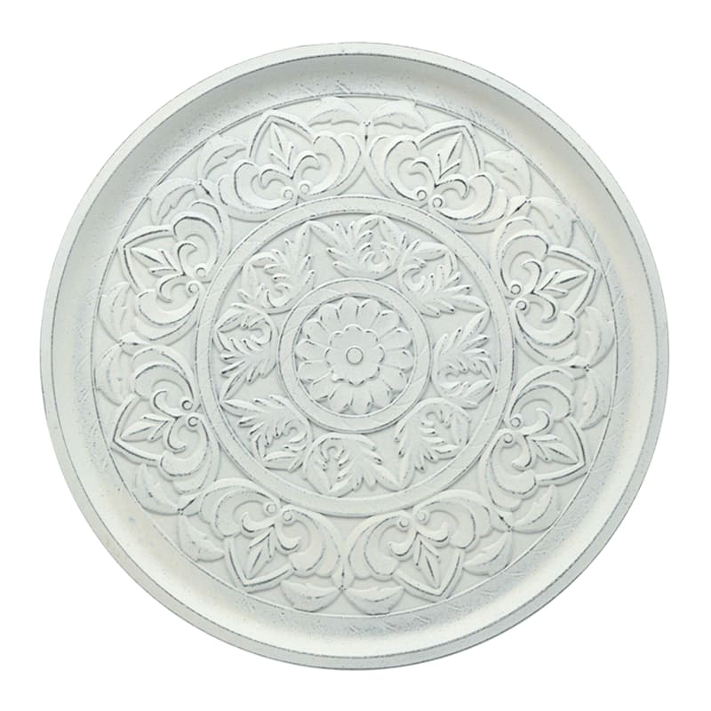WHITE CARVED WOODEN TRAY 13DIA