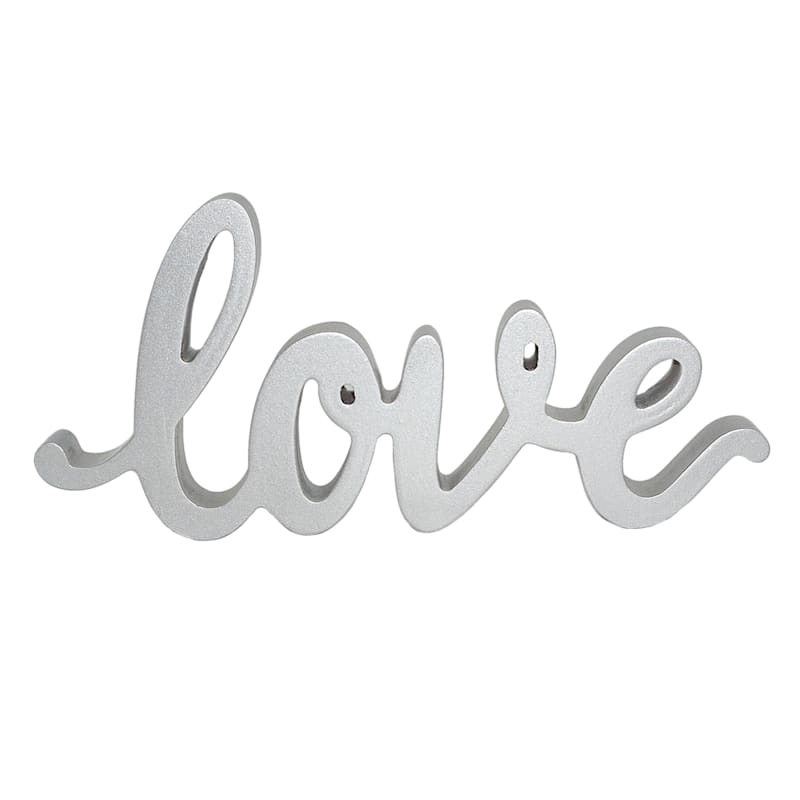 10X5 SILVER LOVE SCRIPT SIGN