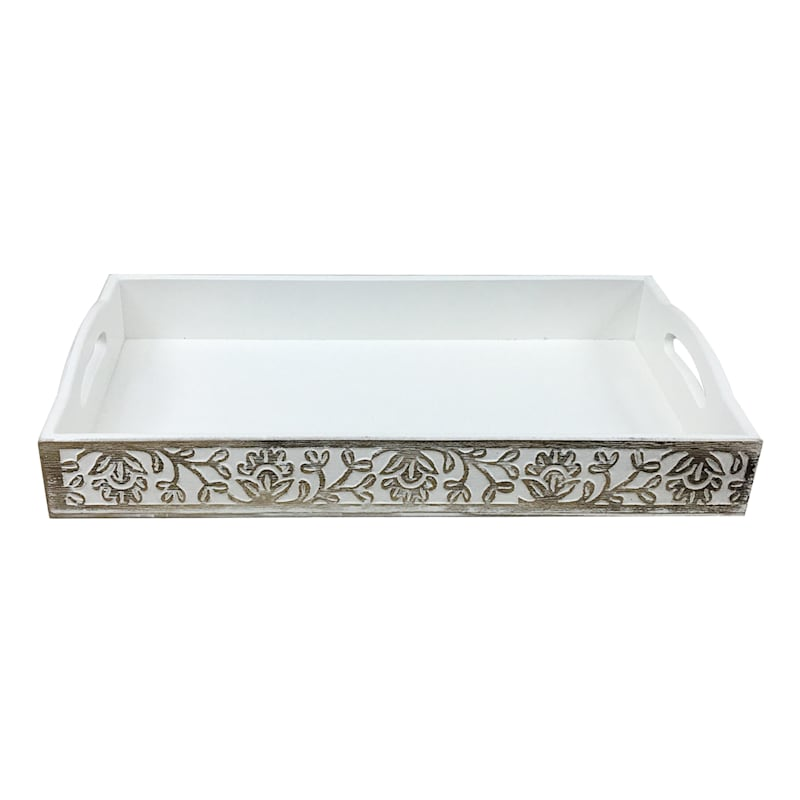 Set of 3 Nesting Floral Wooden Trays