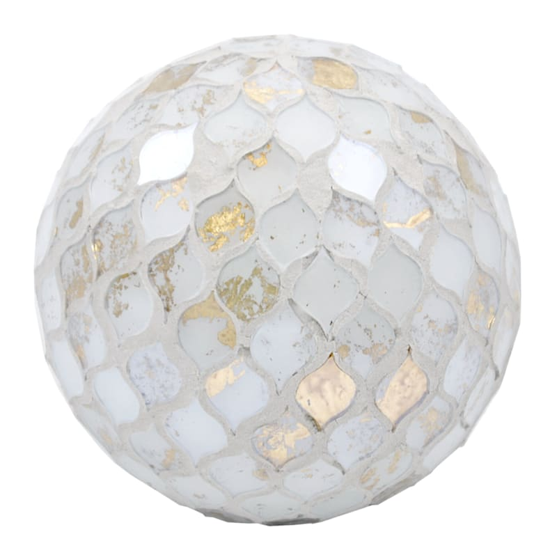 White/Gold Mosaic Glass Orb, 4""