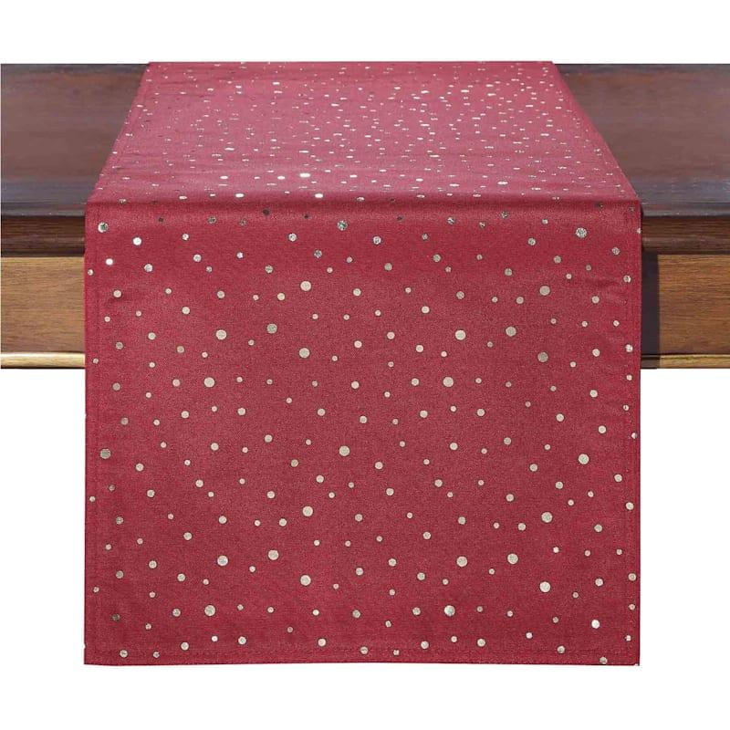 Red & Gold Dot Table Runner, 14 x 72